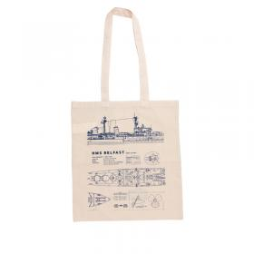 HMS Belfast blueprint tote bag
