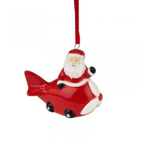 Ceramic Santa in a red plane front main