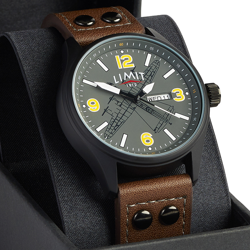 Lancaster Crew Watch boxed detail face