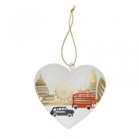 London scene tin heart decoration front