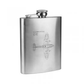 Spitfire blueprint hip flask silver engraved main image
