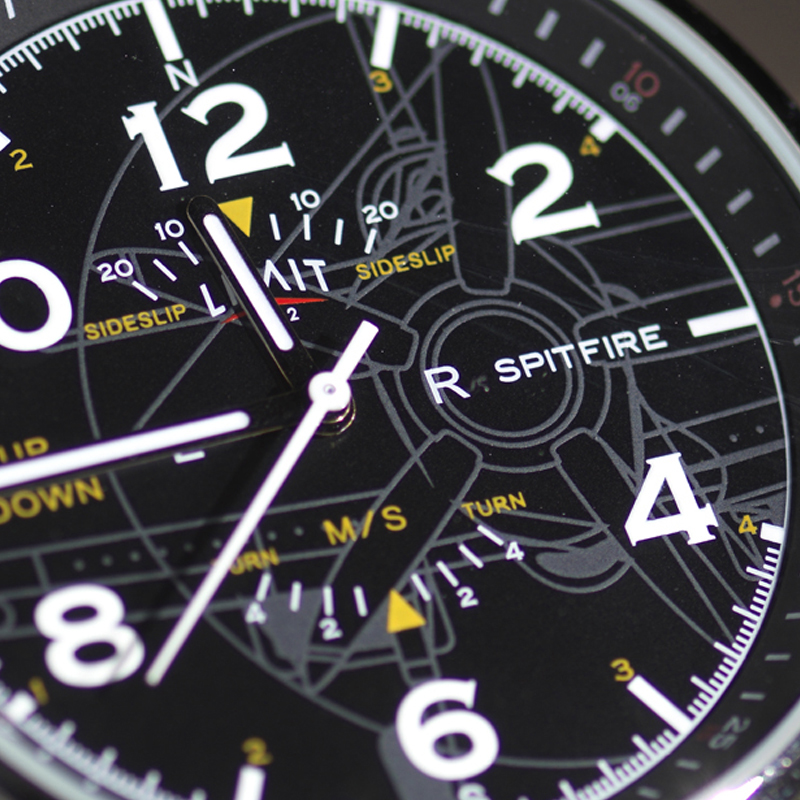Spitfire blueprint pilot watch face detail
