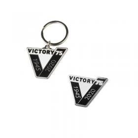Victory 75 pin badge and keyring
