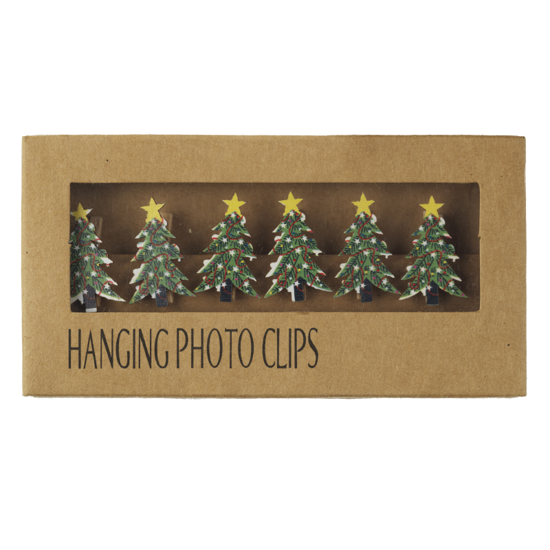 Wooden Christmas tree card hanger front