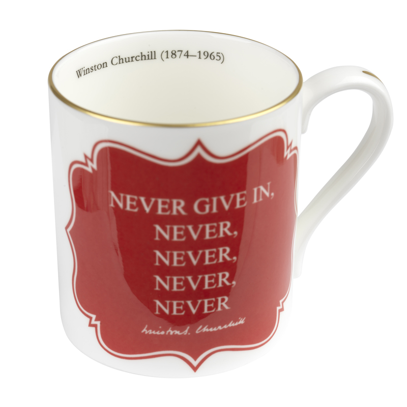 Never give in mug 2