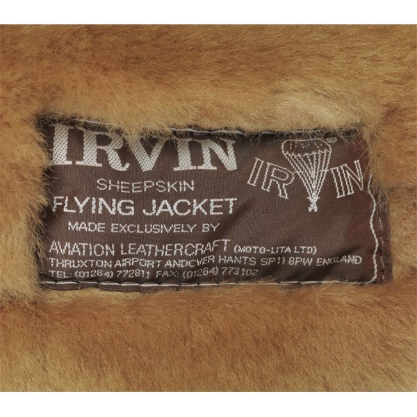 real leather genuine irvin flying jacket tag